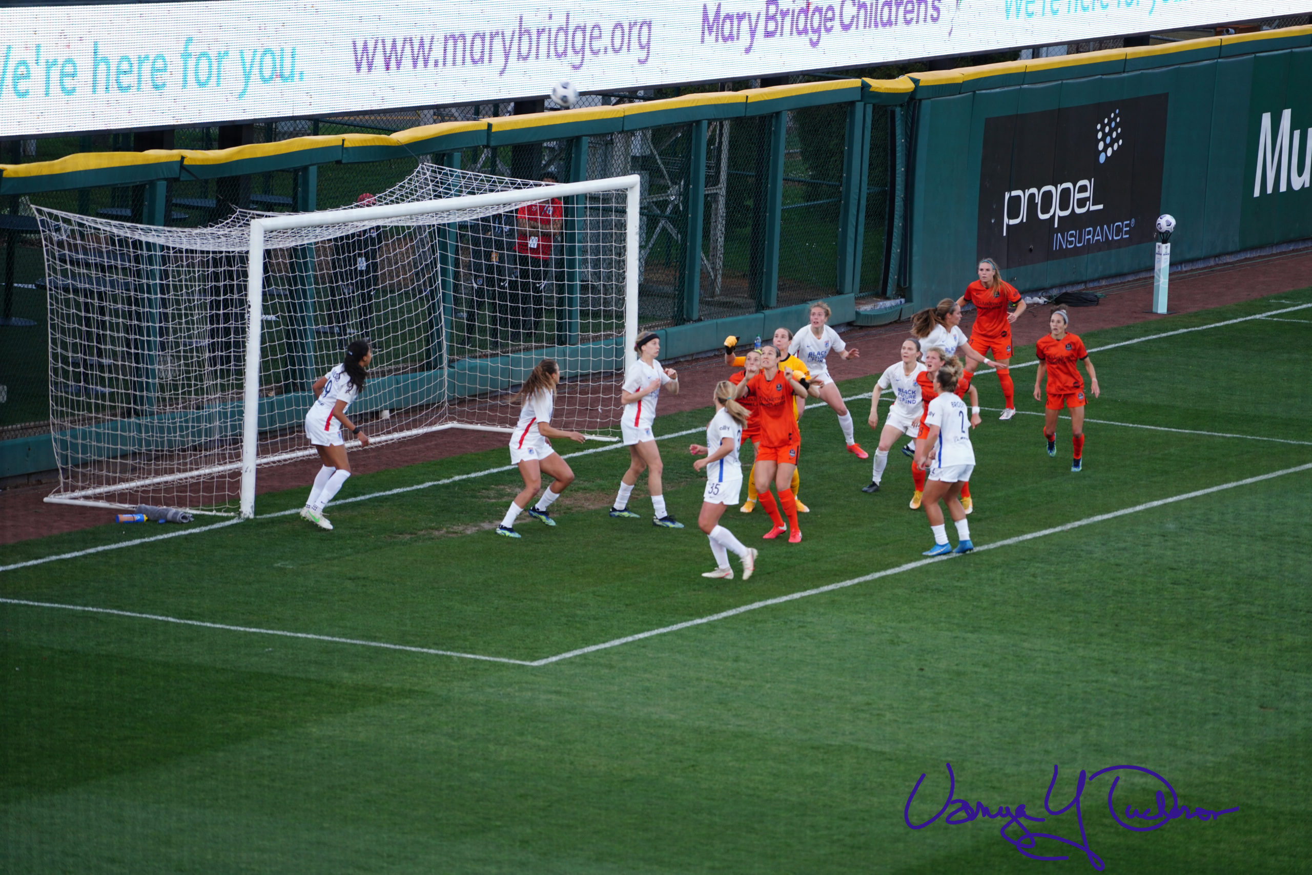 Incoming! Bardsley rises to punch clear the Dash corner