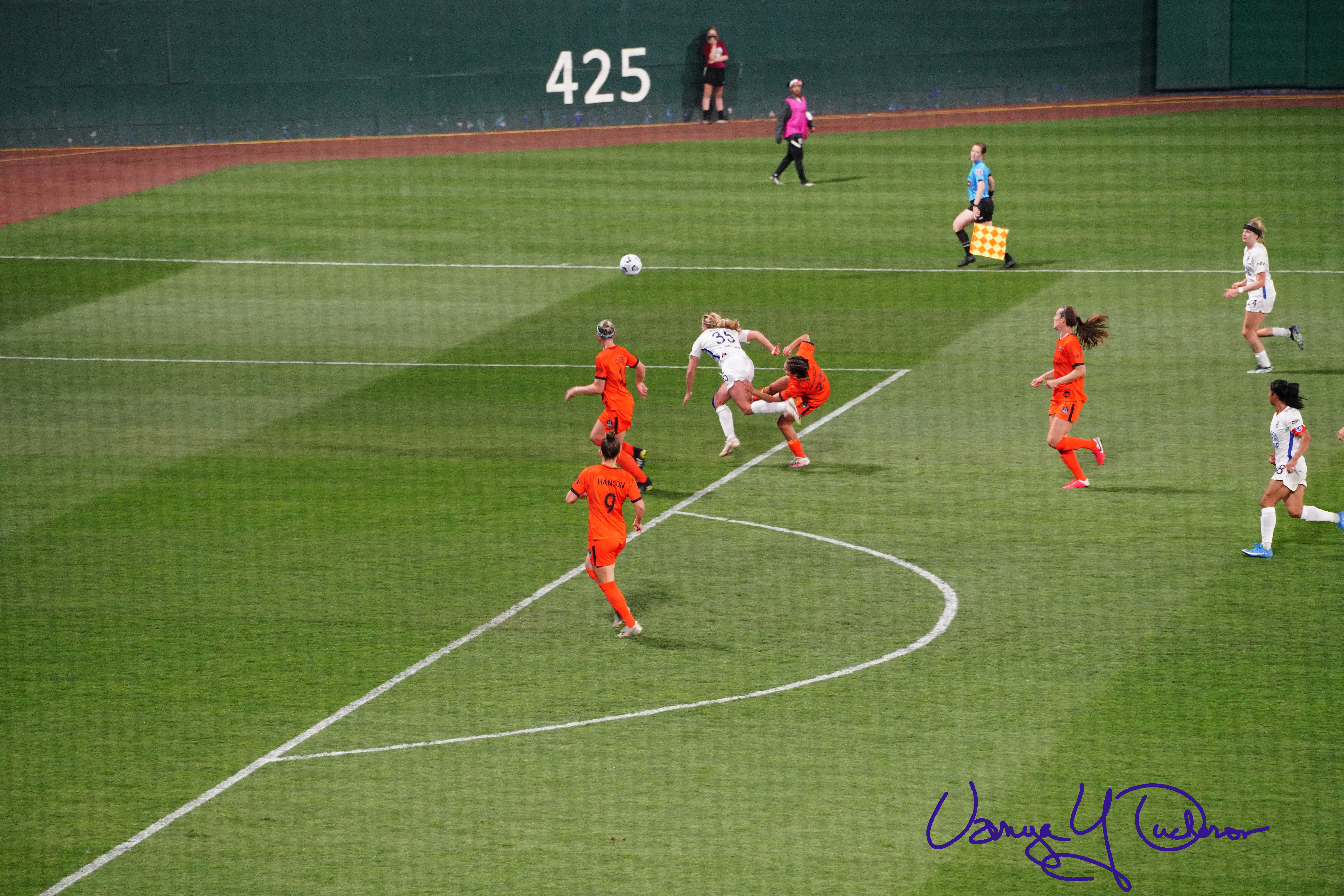 Leah Pruitt knocked off stride on the edge of the box
