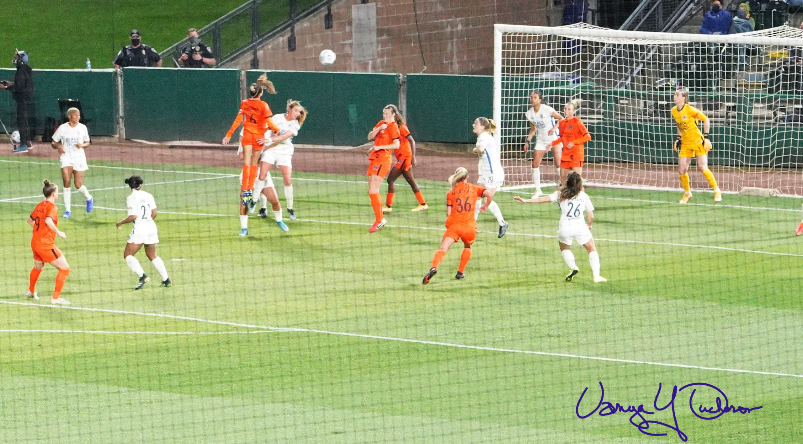 Shea Groom heads towards goal